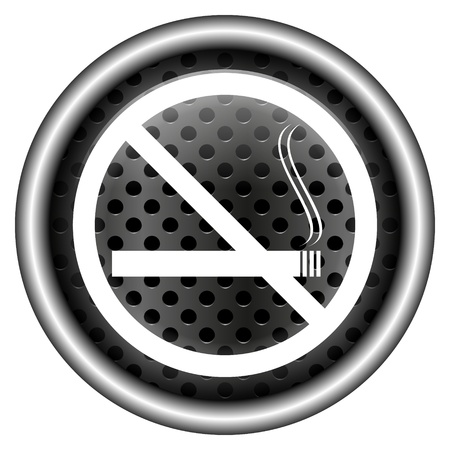 interdiction: Glossy icon with white design on metallic background