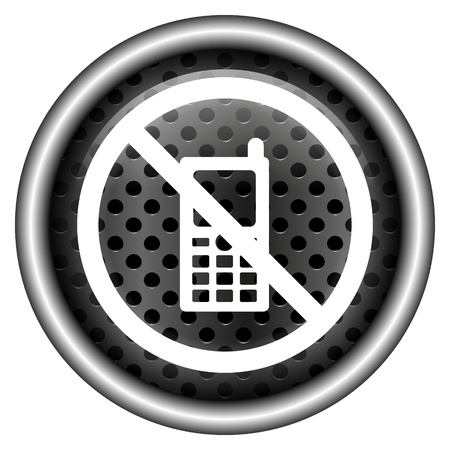 no cell phone: Glossy icon with white design on metallic background