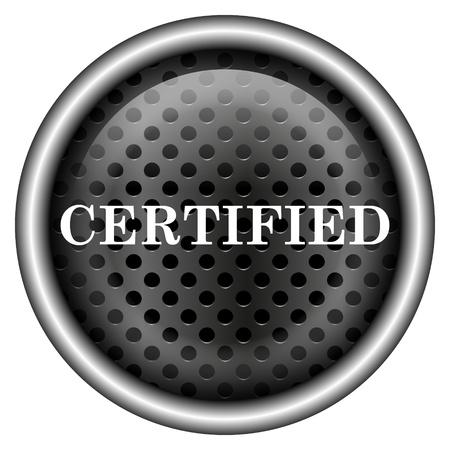 ratificaci�n: Icono brillante con un dise�o blanco sobre fondo met�lico Foto de archivo