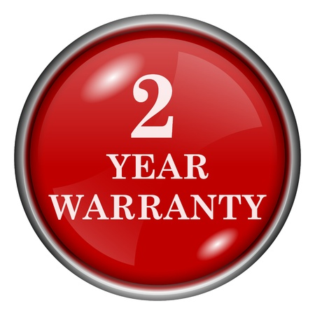 Red round glossy 2 year warranty icon with white design on red background photo