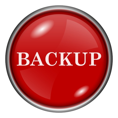 Red round glossy backup icon with white design on red background