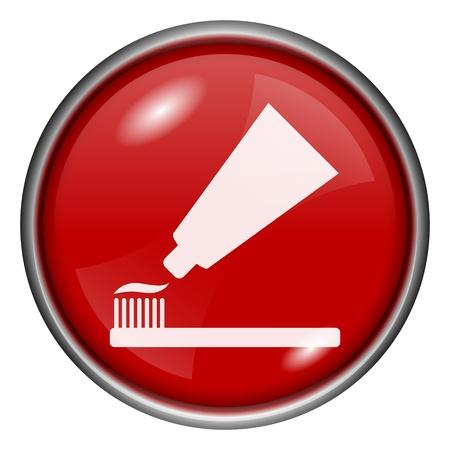 fluoride: Red round glossy toothpaste icon with white design on red background