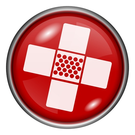 band aid: Red round glossy aid icon with white design on red background