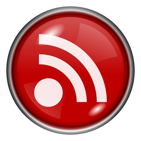Red round glossy RSS icon with white design on red background Stock Photo - 20837582
