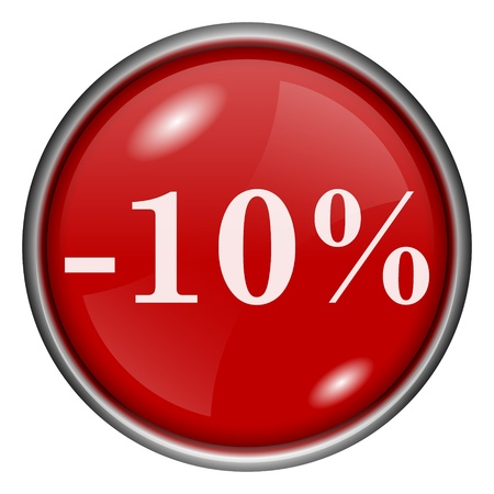 Red round glossy -10% icon with white design on red background photo