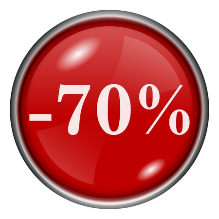 Red round glossy -70% icon with white design on red background photo