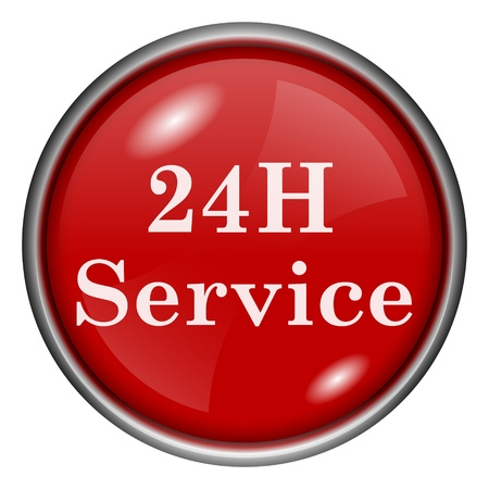 Red round glossy 24H service icon with white design on red background photo