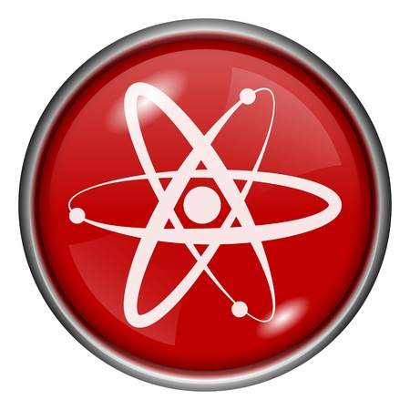 Red round glossy atom icon with white design on red background Stock Photo - 20837443