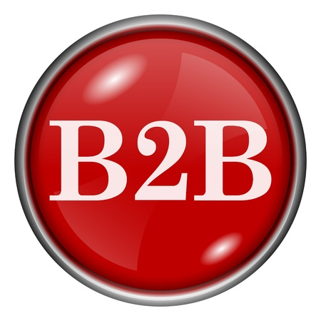 Red round glossy B2B icon with white design on red background Stock Photo - 20837445