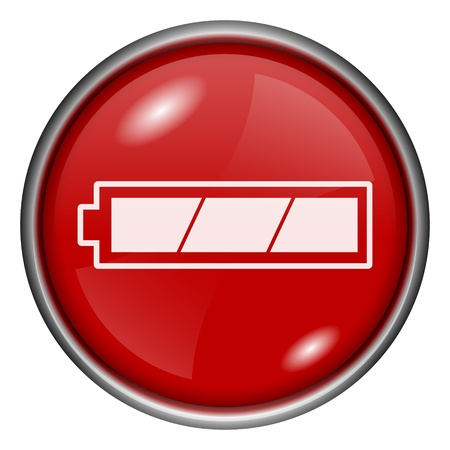 Red round glossy battery icon with white design on red background