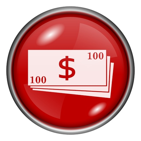Red round glossy money icon with white design on red background photo