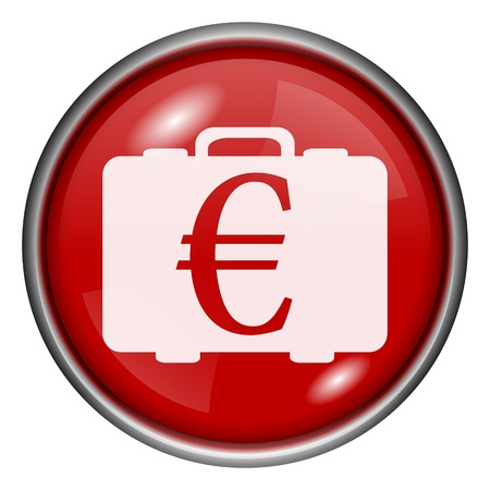 Red round glossy euro money bag icon with white design on red background photo