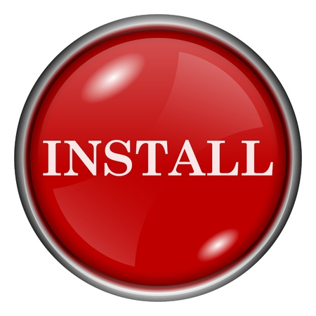 Red round glossy install icon with white design on red background photo