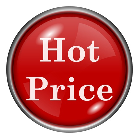 Red round glossy hot price icon with white design on red background photo