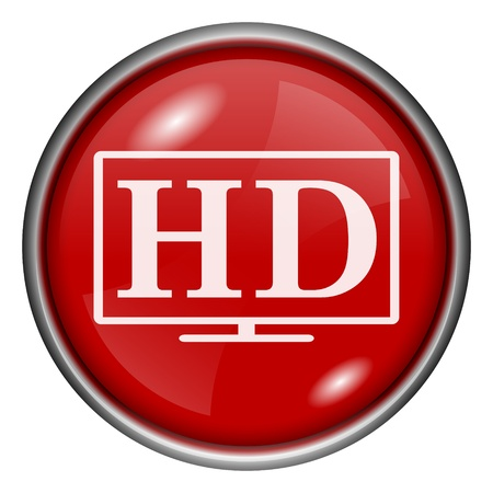 Red round glossy HD icon with white design on red background Stock Photo - 20837307