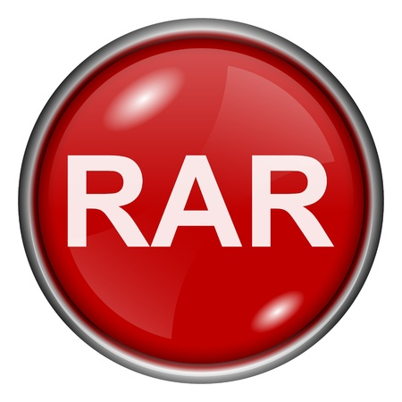 compress: Red round glossy RAR icon with white design on red background