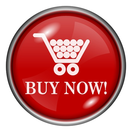 Red round glossy buy now icon with white design on red background photo