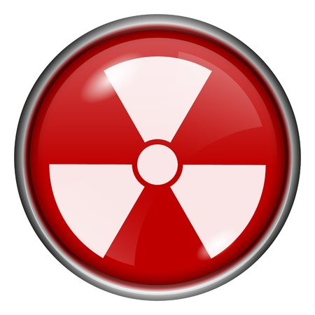 Red round glossy radioactive icon with white design on red background Stock Photo - 20837068