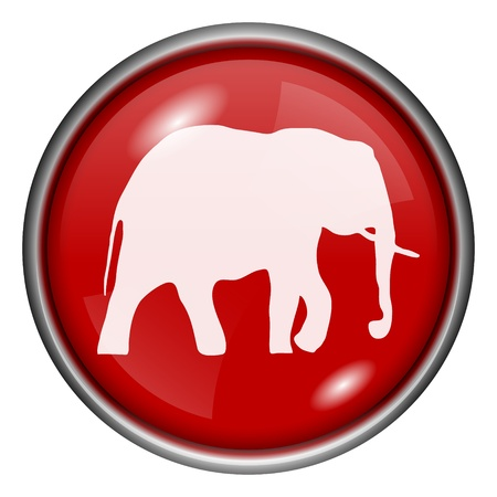 endanger: Red round glossy elephant icon with white design on red background