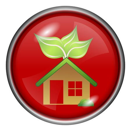 Red round glossy eco house icon with white and green design on red background Stock Photo - 20837076