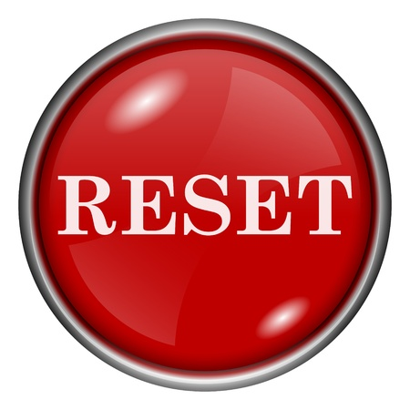 redesign: Red round glossy reset icon with white design on red background