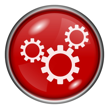 Red round glossy gears icon with white design on red background