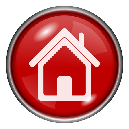 Red round glossy house icon with white design on red background Stock Photo - 20836795