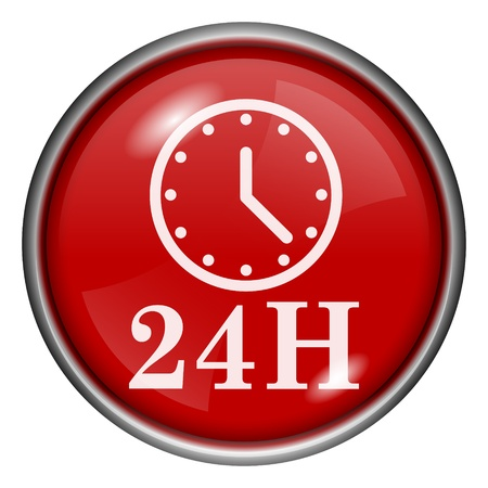 Red round glossy 24H icon with white design on red background photo