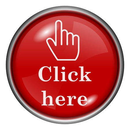 click here: Red round glossy icon with white design on red background