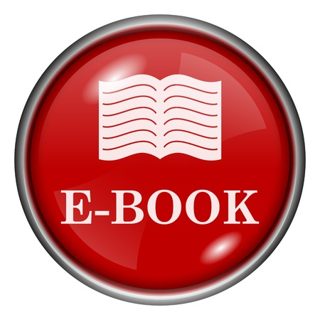 audiobook: Red round glossy icon with white design on red background