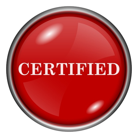 ratification: Red round glossy icon with white design on red background