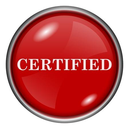 ratificaci�n: Rojo brillante icono redondo con dise�o en blanco sobre fondo rojo