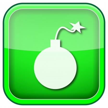 mines: Square shiny icon with white design on green background