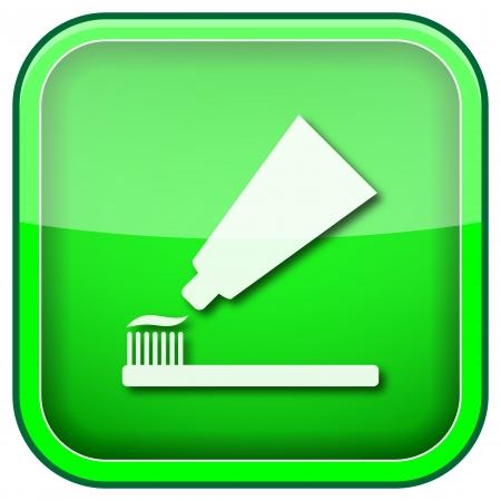 Vierkante glanzende pictogram met wit ontwerp op groene achtergrond