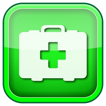 first aid kit key: Square shiny icon with white design on green background