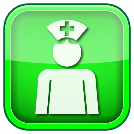 clinical staff: Square shiny icon with white design on green background