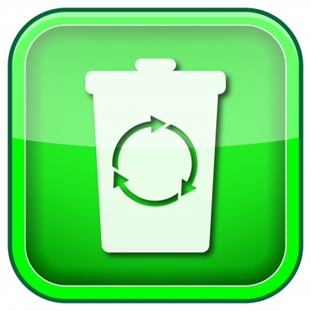 Square shiny icon with white design on green background photo