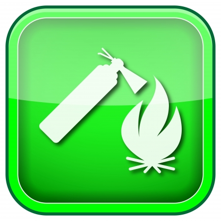 flammability: Square shiny icon with white design on green background