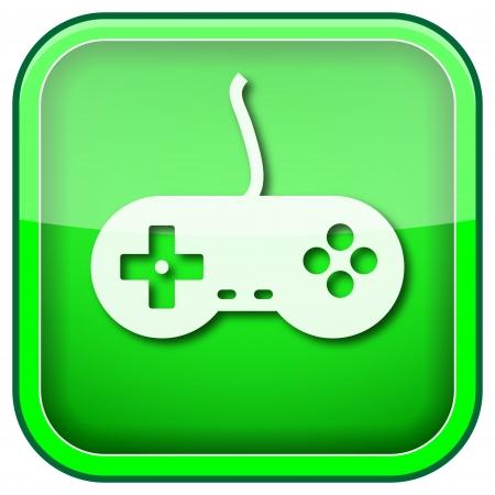 joypad: Square shiny icon with white design on green background
