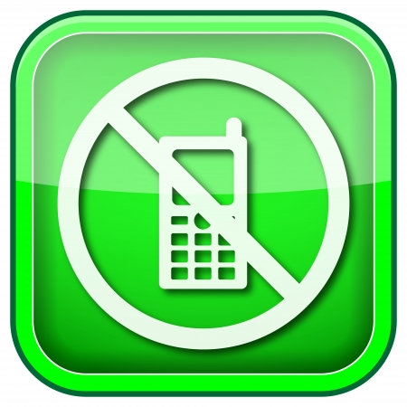 no cell phone: Square shiny icon with white design on green background