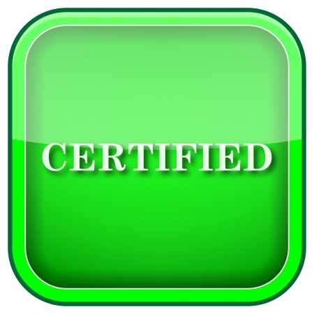ratification: Square shiny icon with white design on green background