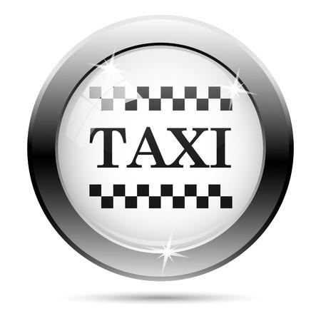 Metallic taxi icon with black design on white glass background photo