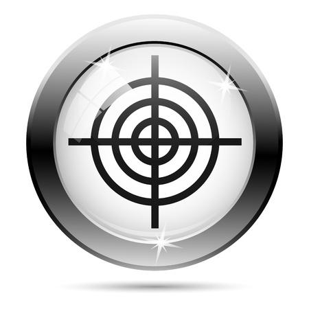 Metallic target icon with black design on white glass background