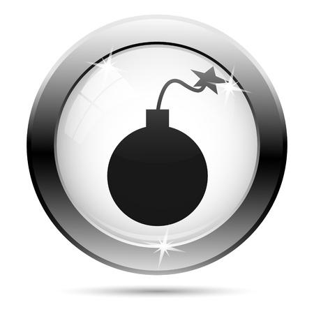 Metallic bomb icon with black design on white glass background photo
