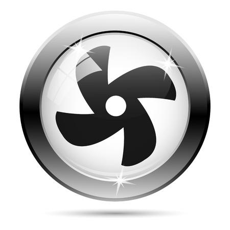 ventilator: Metallic fan icon with black design on white glass background