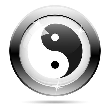 Metallic yin yang icon with black design on white glass background Stock Photo - 21062723
