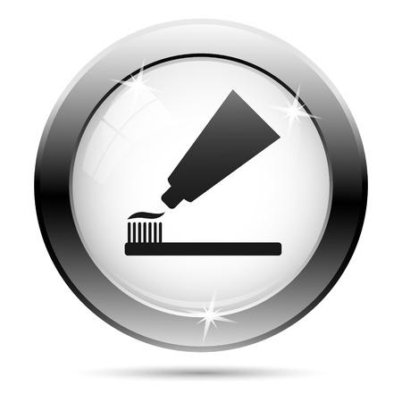 Metallic tandpasta icoon met zwarte ontwerp op glas witte achtergrond