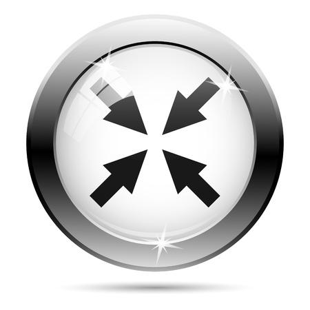 minimize: Metallic minimize icon with black design on white glass background