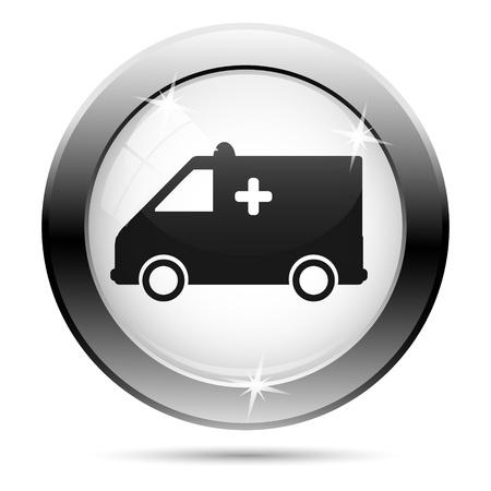 Metallic ambulance icon with black design on white glass background Stock Photo - 21063146