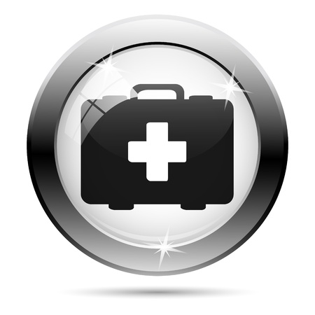 first aid kit key: Metallic first aid kit icon with black design on white glass background